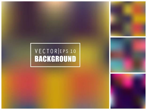 色とりどりの背景をぼかした写真セット。 Premiumベクター