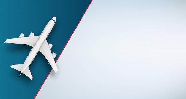 Самолет вид сверху. путешествие на самолете. Premium векторы