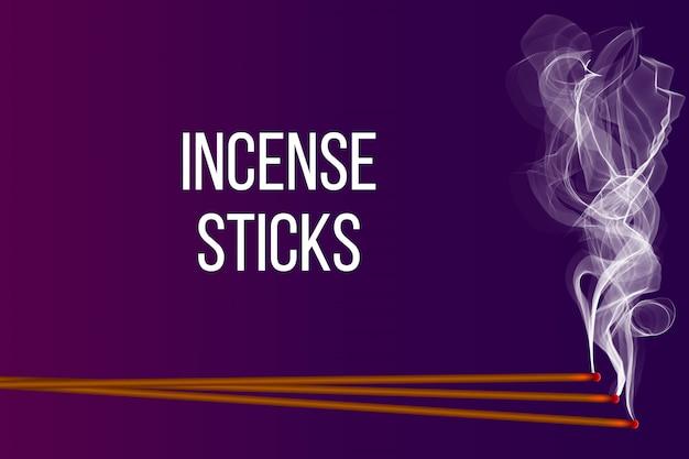 煙でリアルな線香。 Premiumベクター