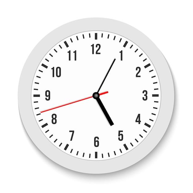 Классические настенные офисные часы, время, по часовой стрелке. Premium векторы