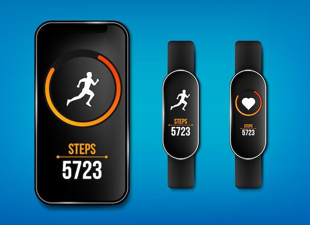 Фитнес-приложение для телефона, браслет-браслет Premium векторы