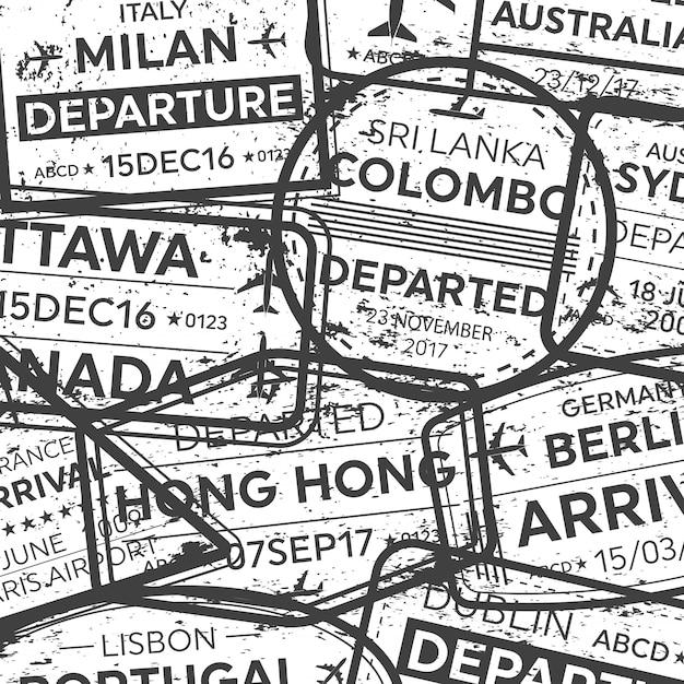国際出張ビザパスポートスタンプ。 Premiumベクター
