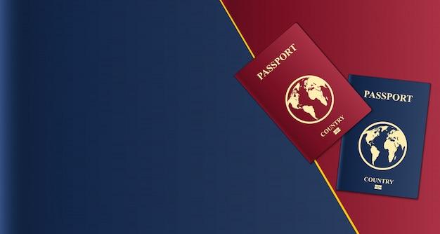 Паспорта с картой мира, документ, удостоверяющий личность. Premium векторы