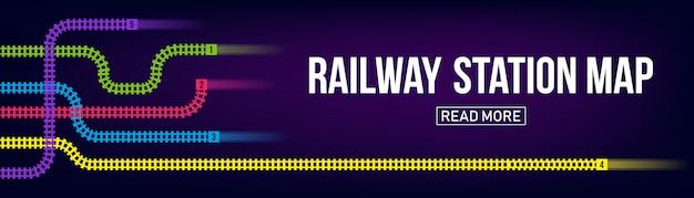 Железнодорожная станция карта, метро, инфографика, железнодорожный баннер фон Premium векторы