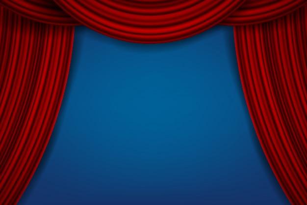 Роскошные алые шелковые бархатные шторы, тканевые шторы Premium векторы