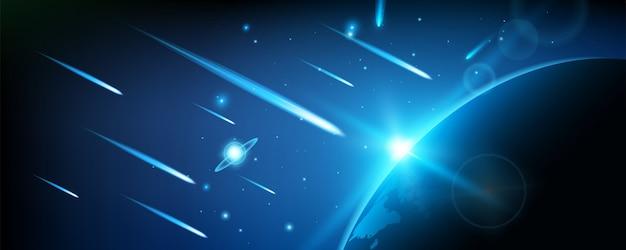 空飛ぶ宇宙流星、惑星、彗星、火の玉。 Premiumベクター