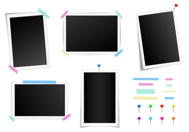 影付きの正方形のフォトフレームのセットです。 Premiumベクター
