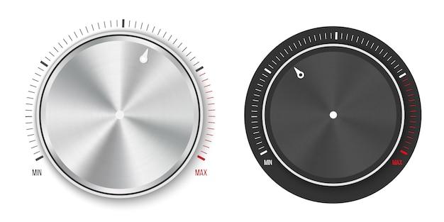 Ручка регулятора уровня технологической настройки, металлическая кнопка. Premium векторы