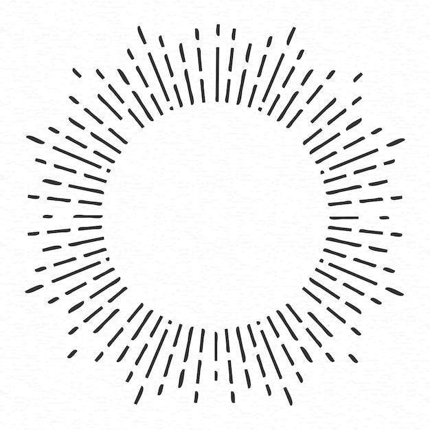 幾何学的な手描きの太陽光線、線の星。 Premiumベクター