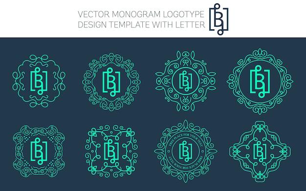 Старинная эмблема монограммы. Premium векторы