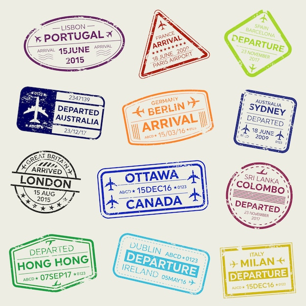 Международная деловая поездка виза паспорт штамп. Premium векторы