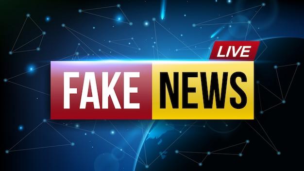 偽のニュースライブ放送テレビ画面。 Premiumベクター