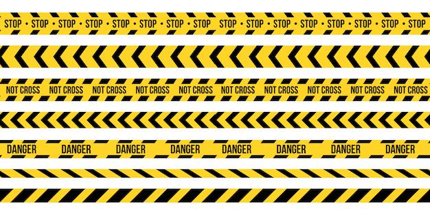黒と黄色の警察のストライプの境界線。 Premiumベクター