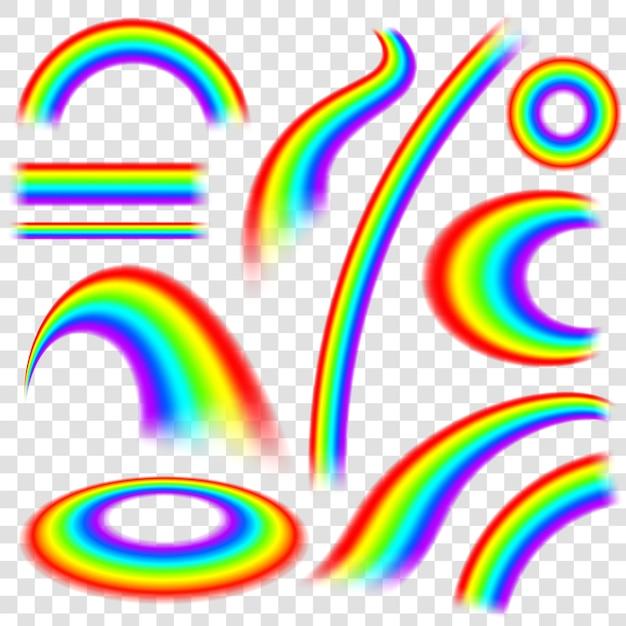異なるスペクトル形状の虹 Premiumベクター