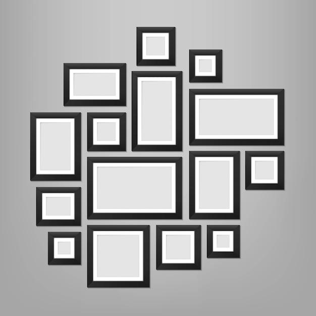 壁の写真フレームテンプレート Premiumベクター