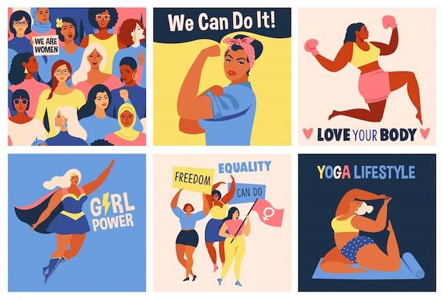 Международный женский день. мы можем сделать это плакат. Premium векторы