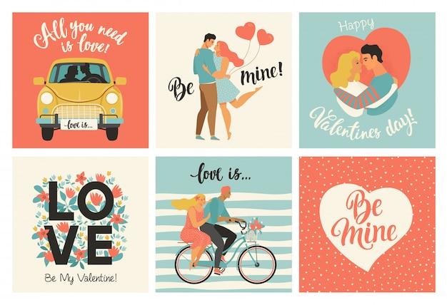 バレンタインの日カードと他のチラシテンプレート Premiumベクター