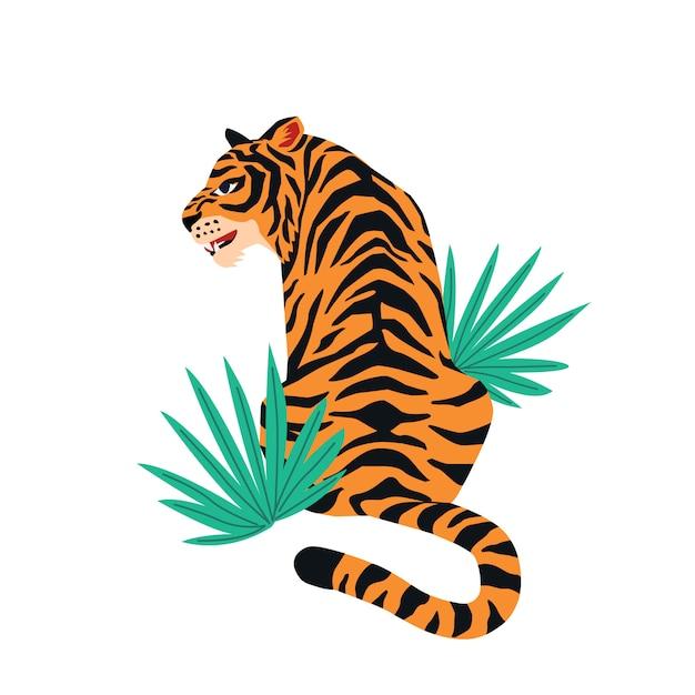 Милый тигр на белом фоне и тропические листья. Premium векторы