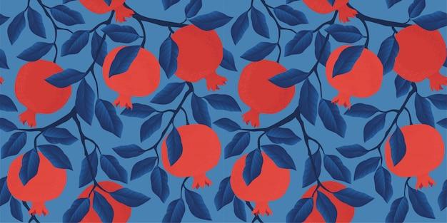 ザクロの果実とシームレスなパターンをベクトル。 Premiumベクター