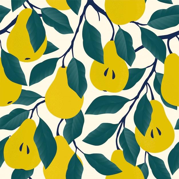 黄色の洋ナシとのシームレスなパターン。 Premiumベクター