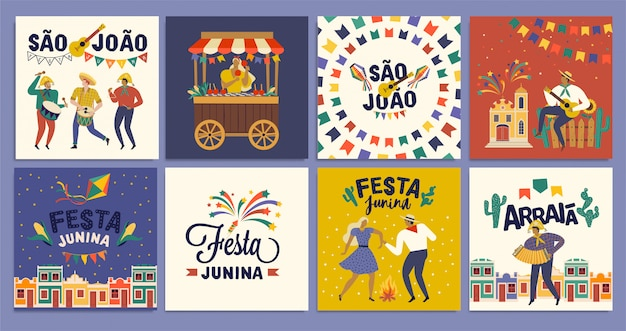 ブラジルの伝統的なお祝いフェスタジュニーナ。 Premiumベクター