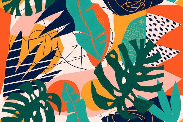 Абстрактный современный тропический райский коллаж с различными фруктами, экзотическими растениями и геометрическими фигурами бесшовные модели Premium векторы
