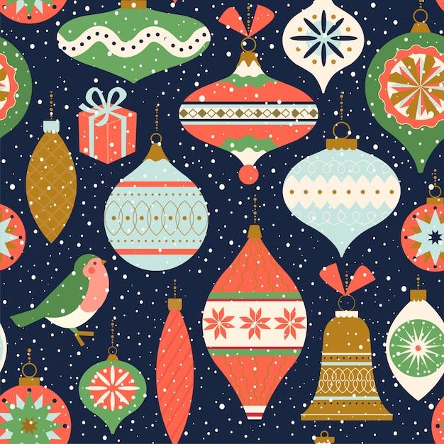 Бесшовные с рождественским декором. Premium векторы