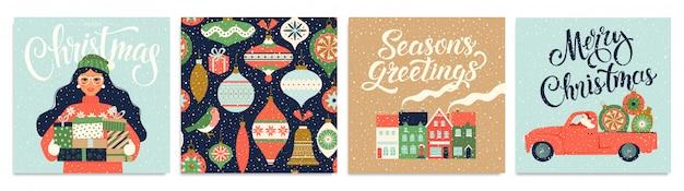 Набор рождественских открыток и шаблонов с новым годом. Premium векторы
