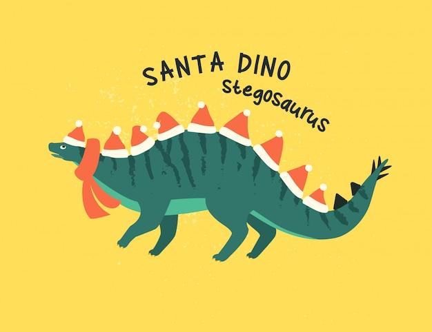 Стегозавр в костюме санта-клауса. Premium векторы