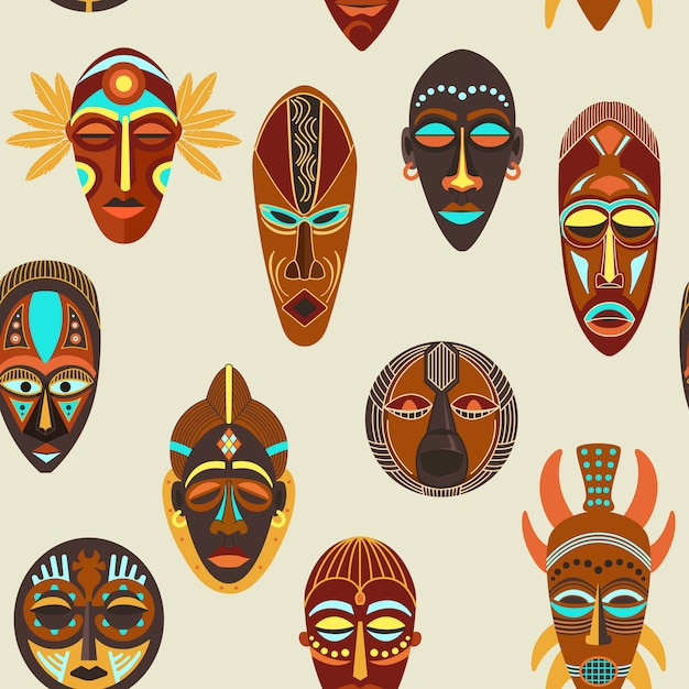 Бесшовные африканских этнических племен ритуальных масок различной формы. Premium векторы