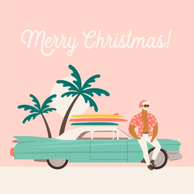 サンタクロースと車で夏休み。 Premiumベクター