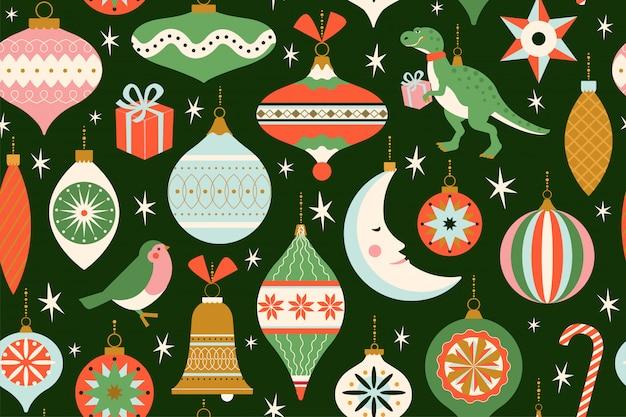 さまざまなクリスマスのおもちゃが付いたメリークリスマスと新年のカードと、レトロな半世紀のモダンなスタイルのプレゼント。冬の休日のシームレスなパターン。 Premiumベクター