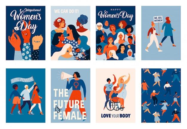 国際婦人デー。カード、ポスター、チラシ、その他のユーザーのテンプレート。 Premiumベクター