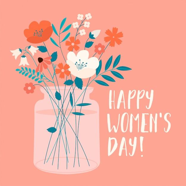 春の花束を持つ国際女性の日。カード、ポスター、チラシ、その他のユーザーのベクトルテンプレート。 Premiumベクター