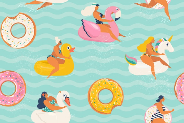 リラックスして、スイミングプールでアヒル、ユニコーン、白い白鳥、ドーナツ、フラミンゴの形の異なるインフレータブルリングで日光浴の若い女性。 Premiumベクター