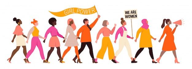 国際婦人デー。さまざまな国籍や文化の女性とイラストレーション。 Premiumベクター