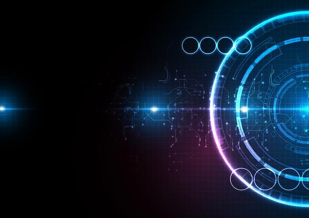 ダークブルーライトサークルデジタルテクノロジー Premiumベクター
