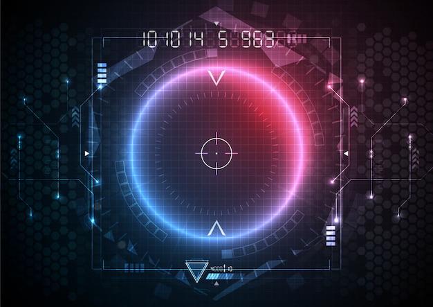 青赤色光未来回路インターフェース技術 Premiumベクター