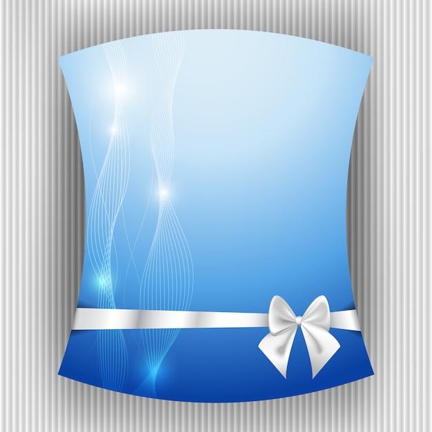 Белая лента и бант на синем фоне Premium векторы