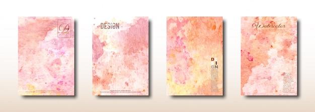 オレンジとピンクの水彩手描きコレクション Premiumベクター