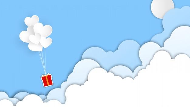День святого валентина баннер фон с сердцем шар и облака Premium векторы