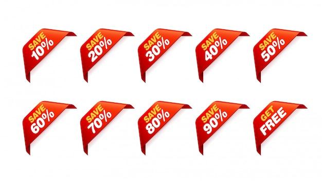 販売タグのセット。割引ステッカーパック Premiumベクター