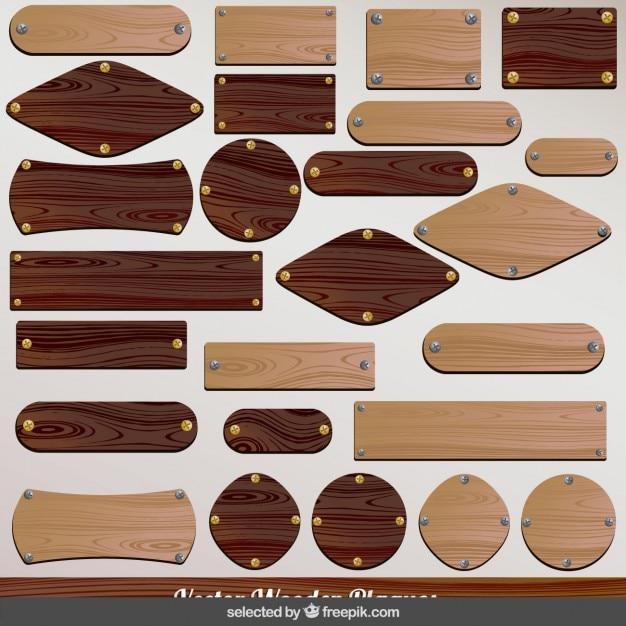 木製プラークコレクション 無料ベクター