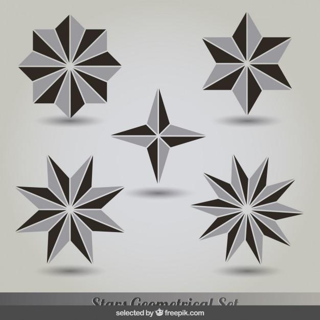 設定の幾何学的グレーと黒の星 無料ベクター