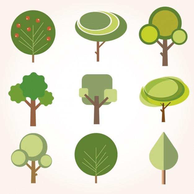 フラットなデザインの木のコレクション 無料ベクター