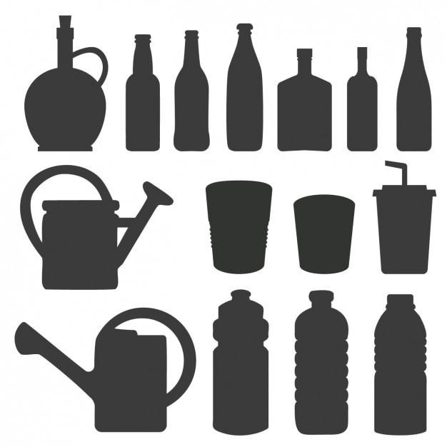 ボトルや水まき缶のシルエット 無料ベクター