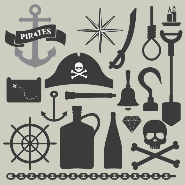 海賊要素コレクション 無料ベクター