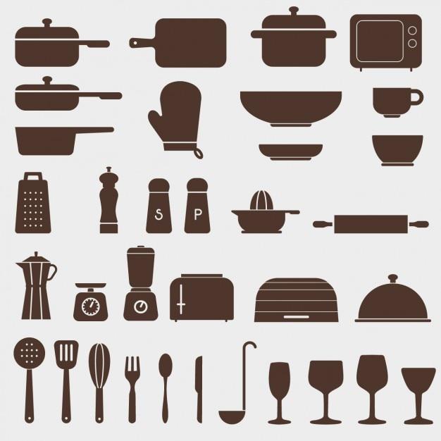 Различные иконки для кухни Бесплатные векторы