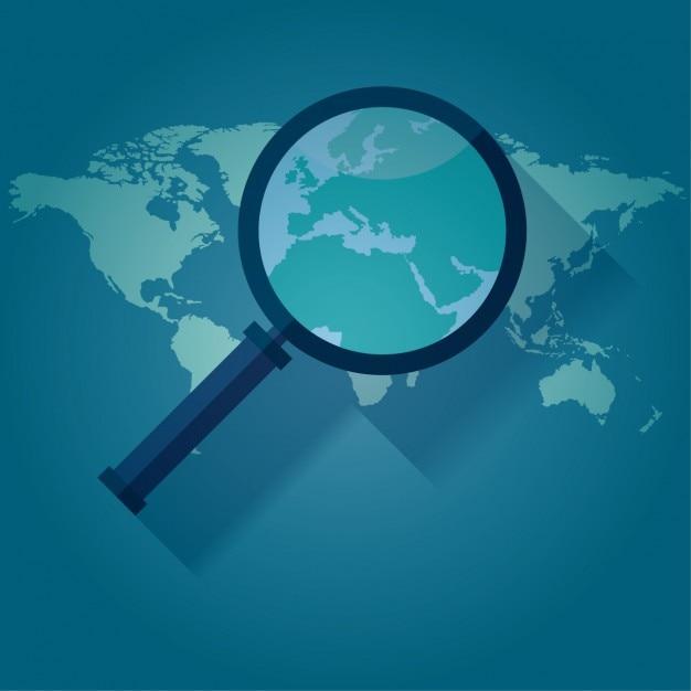 世界地図の上にルーペ 無料ベクター