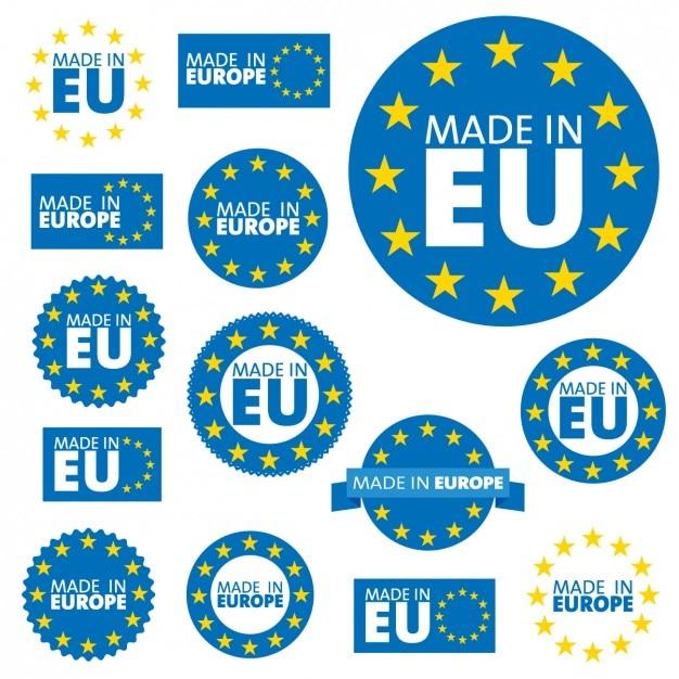 Европейский союз коллекция этикеток Бесплатные векторы